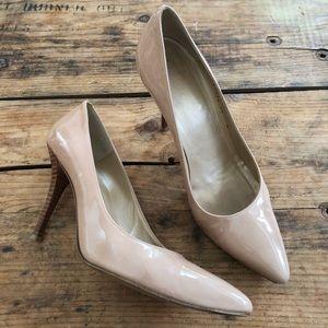 Stuart Weitzman 10M Nude Patent Pointy Toe Heels